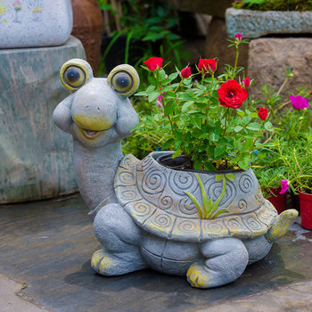 Outdoor Gardening Resin Cartoon Turtle Snail Ornaments Plants Fleshy Flower Pot Courtyard Villa Lawn Furnishing Decoration Craft