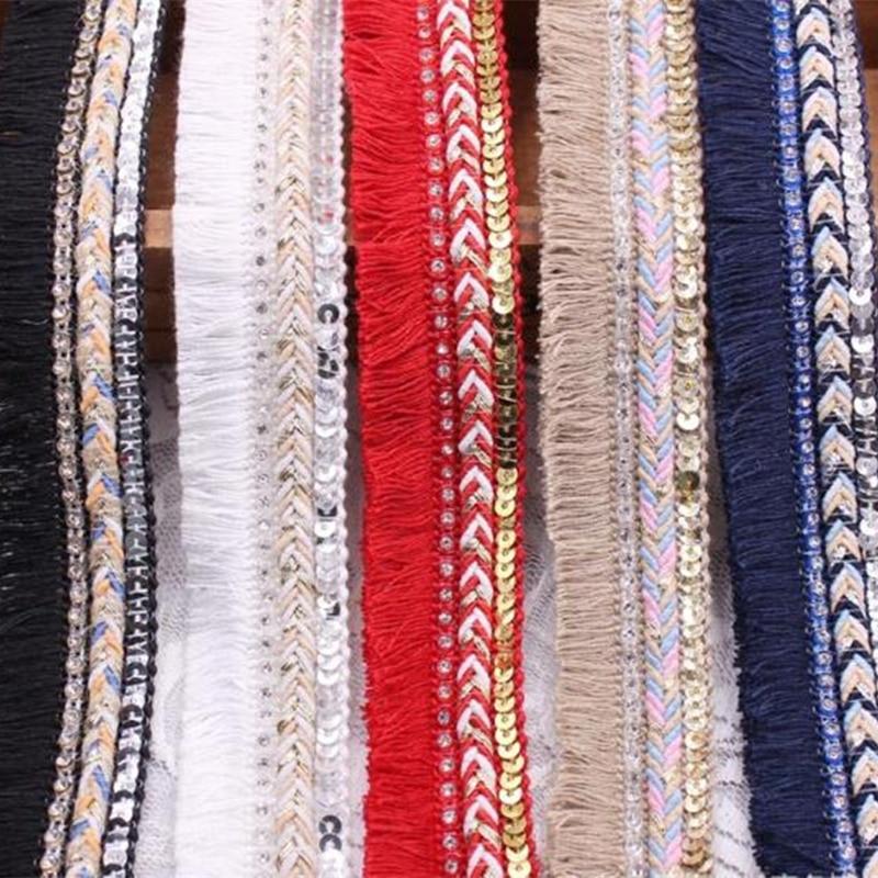Pamuk saçak püskül kenar dantel şerit kordon örgülü pullu Rhinestone dikiş levha DIY elbise perde aksesuarları süslemeler