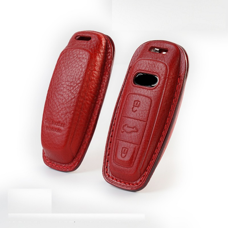 Luxury Genuine Leather Car Remote Key Cover Case Pocket For Audi A6 C8 A7 A8 Q8 2018 2019 car key