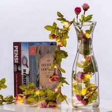 Гирлянда с цветами розы на батарейках 2 м 20 светодиодов