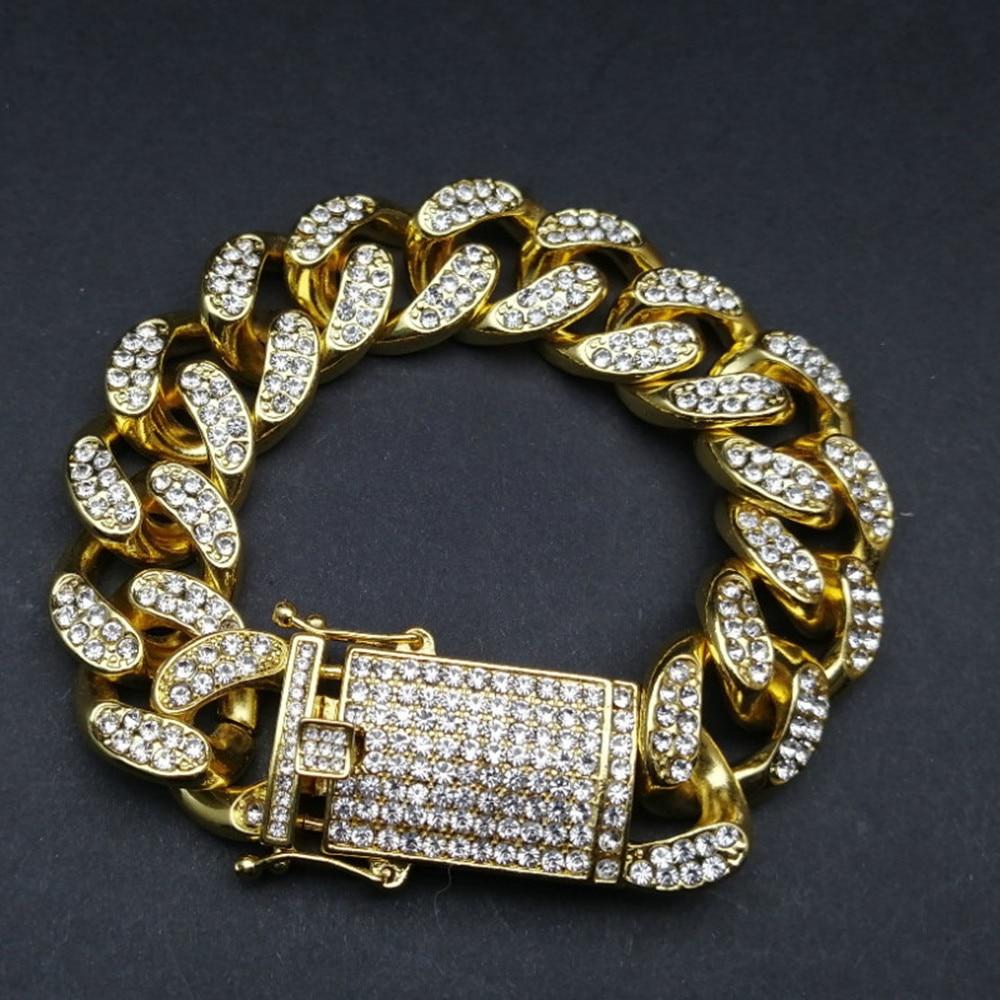 Luxury Men Gold Silver Color Watch Hip Hop Men Watch & Bracelet & Necklace Combo Set Ice Out Cuban Watch Hip Hop For Men