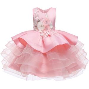 Image 5 - Little Kids Satin First Communion Dresses Glitz Ball Gown Pageant Dress Flower Girl dresses for Weddings banquet Back Dress