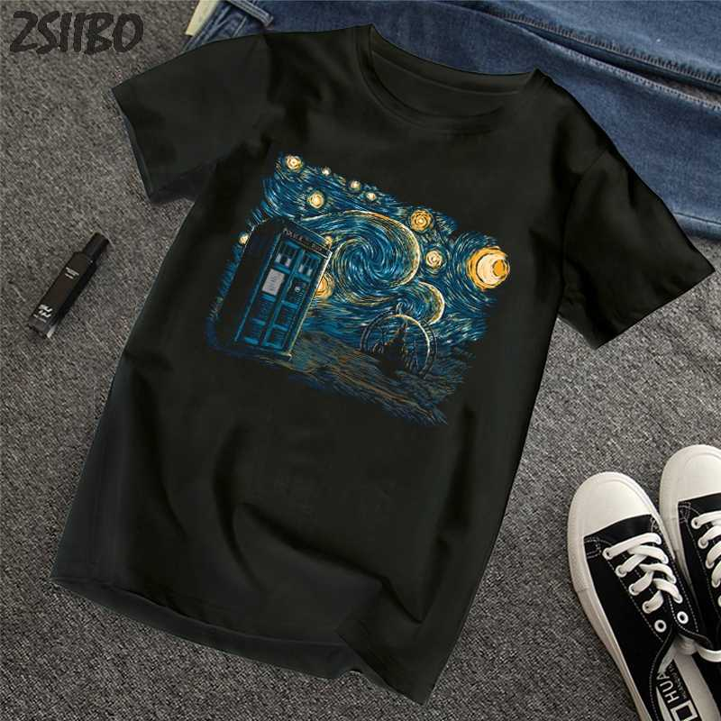ZSIIBO Men's t shirt Van Gogh Oil Painting Harajuku wave print large size funny short-sleeved T-shirt tops tee wave Tshirt