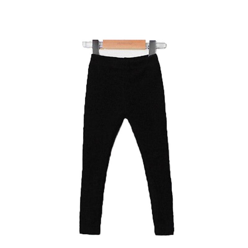 Girls Warm Elastic Waist Cotton Leggings Pants Winter Thickening Fleece Children's Long Trousers Solor Color Warm Girls Legging 5