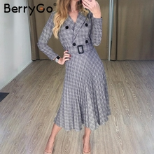 a ダブルブレストプリーツドレス女性エレガント ラインサッシチェック柄ブレザードレス女性長袖 BerryGo