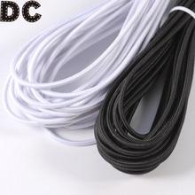 DC 5/10/15Yard Round Elastic Rope White/Black Strong Elastic Bungee Rope Shock Cord Tie Down DIY Jewelry Making