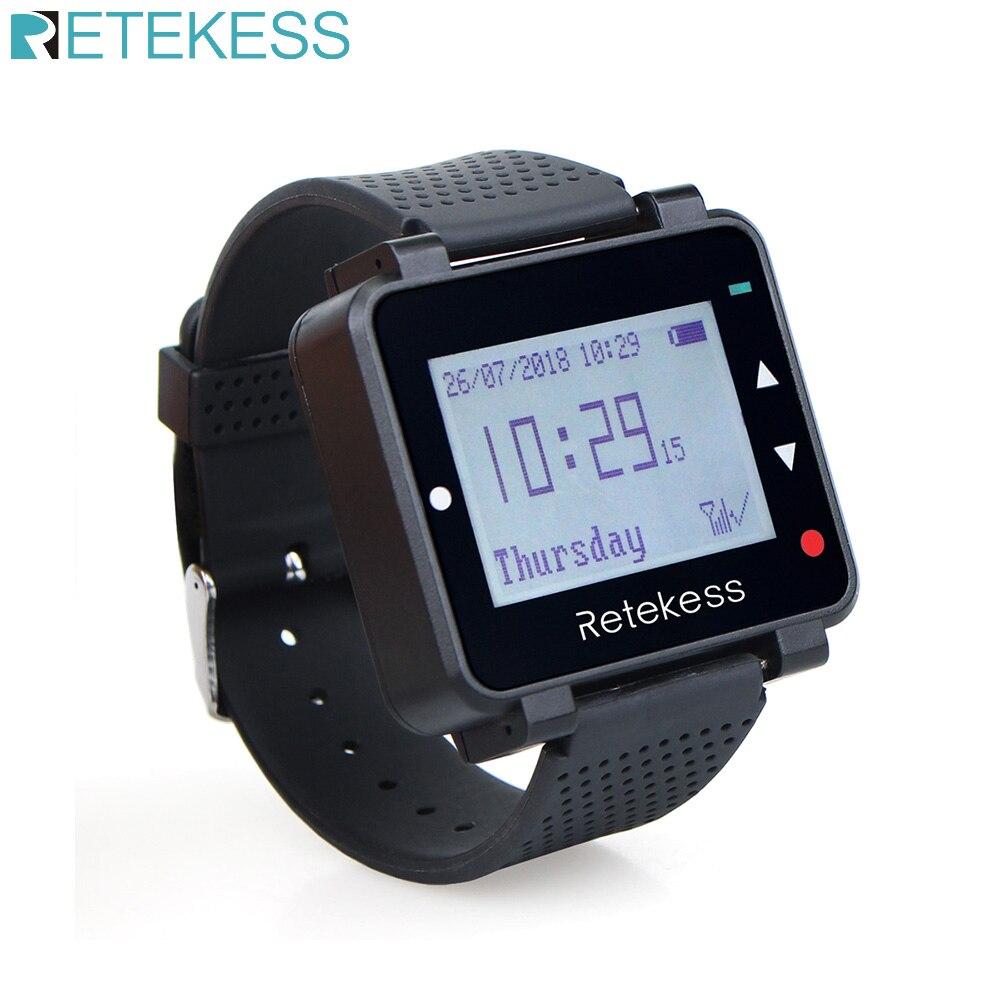 RETEKESS T128 시계 수신기 433.92MHz 블랙 무선 호출 시스템 웨이터 호출 호출기 레스토랑 장비 고객 서비스