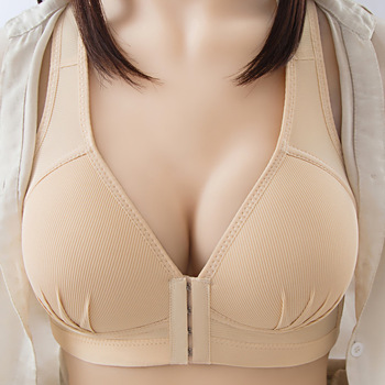 2020 New Arrival Large Size Front Button Comfortable Gather Bra Breathable Thin Section Without Steel Ring Women  Underwear