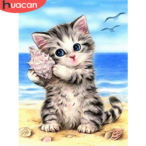 HUACAN 5D Diamond Painting Cross Stitch Diamond Embroidery Cat Full Square Rhinestones Pattern Home Decoration Needle Craft&Art Pakistan