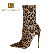 KATELVADI Leopard Boots Women Ankle For 12.5CM Heel Winter Shoes Ladies Sexy Night Club Party Size 43 K-571