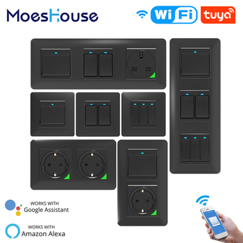 WiFi Smart Light Wall Switch Socket Push Button Remote Control Work with Alexa Google Home