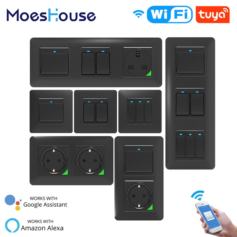 WiFi Smart Light Wall Switch Socket Push Button Smart Life Tuya Wireless Remote Control Work with Alexa Google Home DE EU UK UN