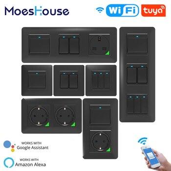 WiFi Smart Light Wall Switch Socket Push Button Life Tuya Wireless Remote Control Work with Alexa Google Home DE EU UK UN - discount item  46% OFF Electrical Equipment & Supplies