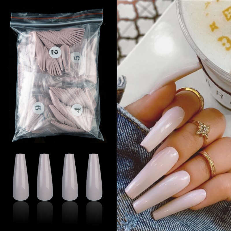 500 teile/beutel Lange Sarg Stiletto Gefälschte Nägel ABS Neue Design Ballerina Nail art Tipps Klar/Natural Süßigkeiten Farbe Gefälschte nägel Tipps