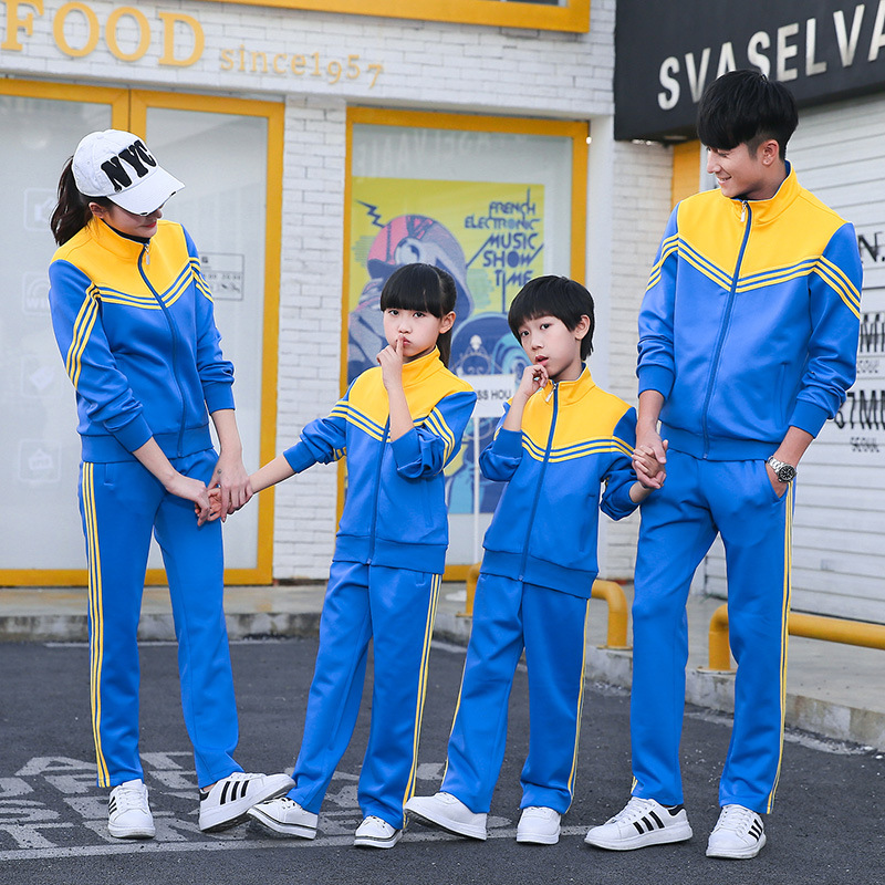 Mixed Colors Spring And Autumn Parent And Child Sports Set Male STUDENT'S School Uniform Long Sleeve Women's Running Sports Clot