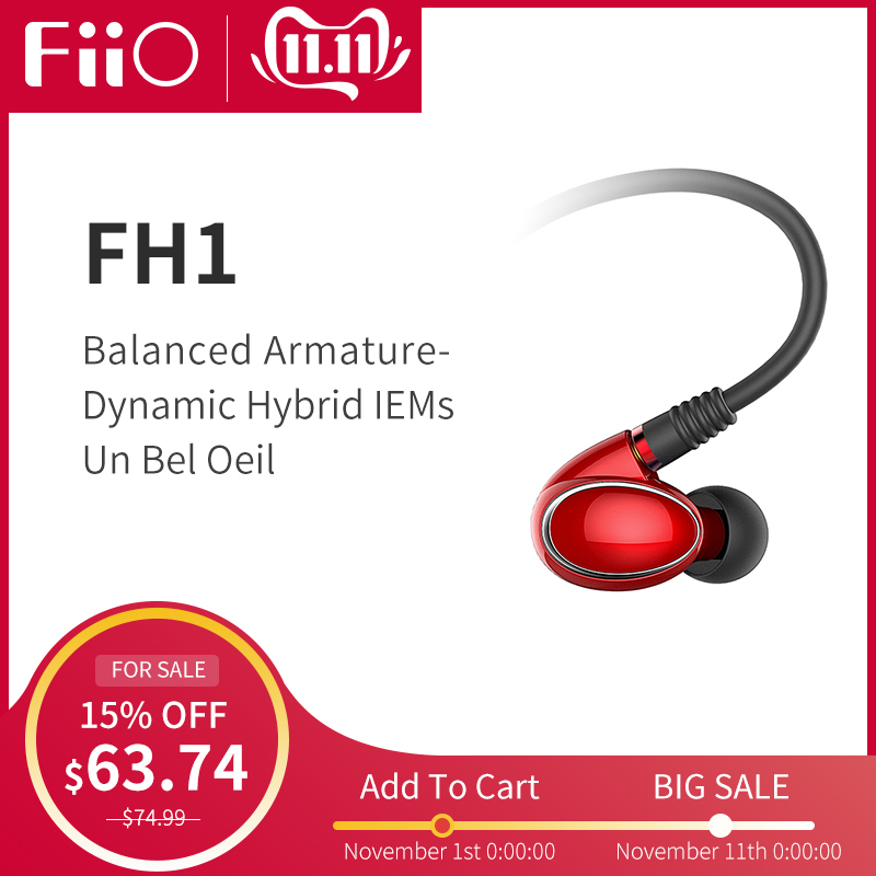 FiiO Knowles FH1 Balanced Armature Dynamic Hybrid HIFI Bass Stereo Earphone with Microphone and remote 3.5mm-in Phone Earphones & Headphones from Consumer Electronics