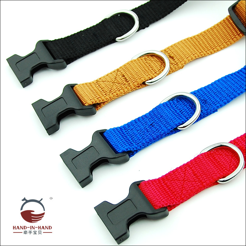 Hand-in-hand Pet Supplies Pet Collar Large Dog Collar Dog Supplies Webbing Plain Color Neck Band