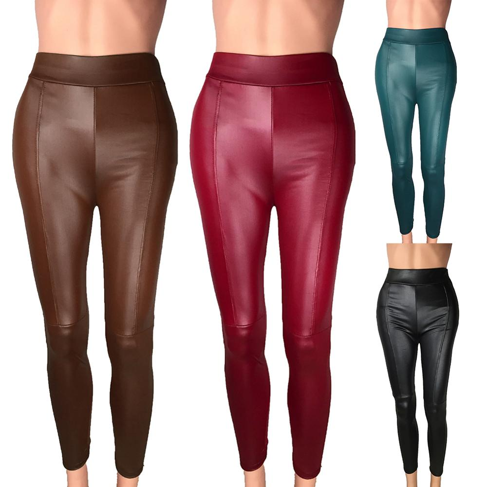 Women Large Size PU Imitation Leather Stretch Elastic Leggings Fashion Casual Slim High Waist Plus Velvet Warm Leather Pants