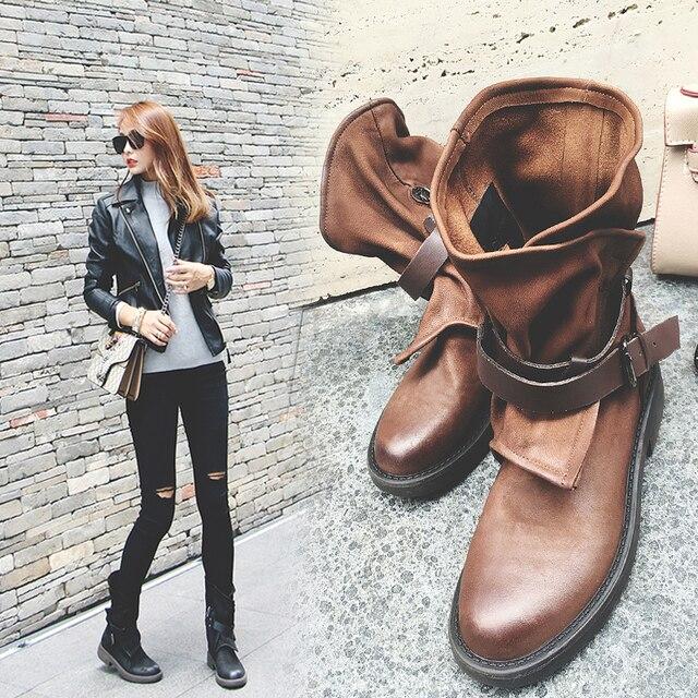 INS femmes chaudes mi-mollet bottes couleur unie grande taille 22-25.5cm longueur cuir Martin bottes britannique rétro moto bottes 2 couleurs
