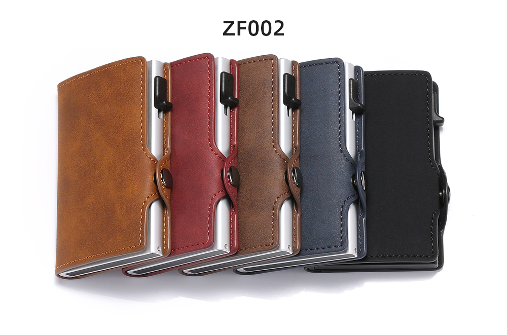 Hc66d1ab4d7024f75aad8ca7e54e2d262q - BISI GORO Single Box Card Holder PU Leather Card Wallet New Men RFID Blocking Aluminum Smart Multifunction Slim Wallet Card Case