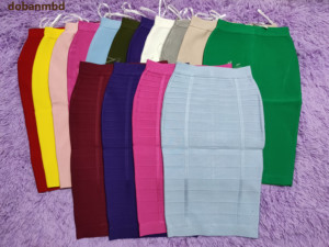 Bandage Skirts 16 Colors Rayon New Women Sexy 2020 Celebrity Party Knee-length red blue green black pink white yellow beige