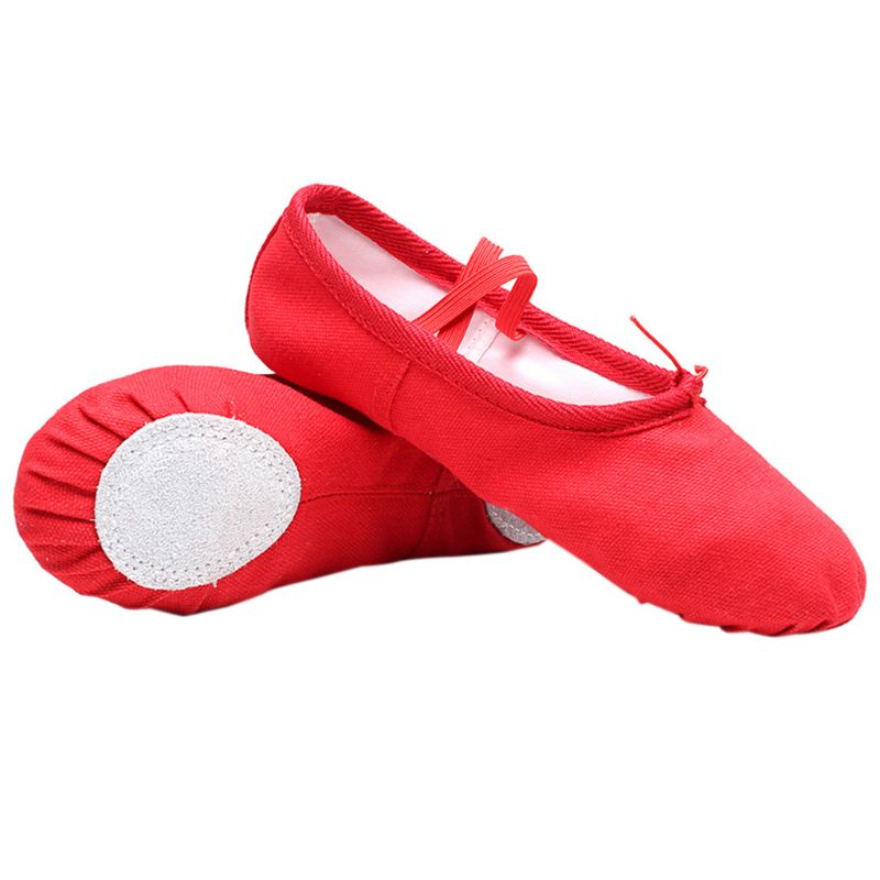 Baby Girl Canvas Cotton Ballet Pointe Dance Shoes Gymnastics Slippers Yoga Flats