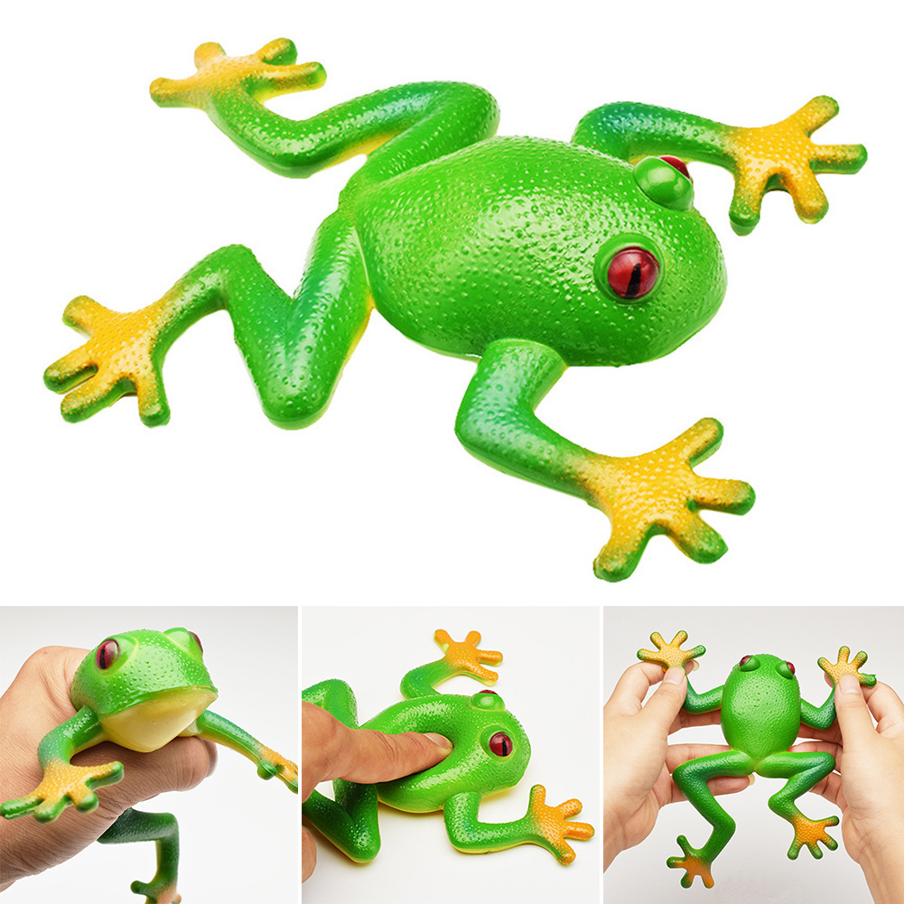 Birthday Gift Simulation Frog Kids Toy Soft Rubber Photography Props Squeezed Vivid Home Decor Stress Relief Party Squishy