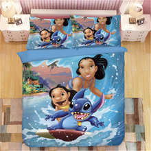 Disney Stitch Printed Bedding Set Home Textile Cartoon Single Twin Full Queen King Size Bedclothes Childrens Boy Girl Bedroom