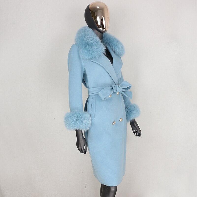 Hc66d4fea771242599434dda163fe08b9p 2021X-Long Natural Mongolia Sheep Real Fur Coat Autumn Winter Jacket Women Double Breasted Belt Wool Blends Overcoat Streetwea