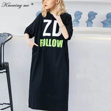 Women Sweatshirt Dress Elegant Oversized Short Sleeve Loose dress Ladies casual O neck Letters print Mid-Calf summer Dresses