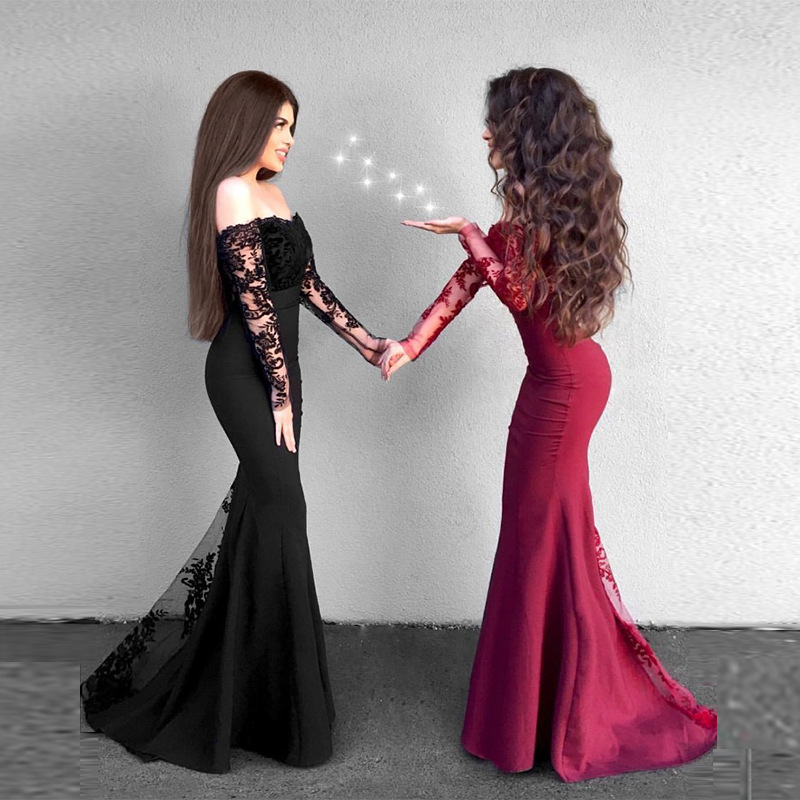 European And American-Style New Style Lace Long-Sleeve Slim Fit WOMEN'S Gown Fa8g012d
