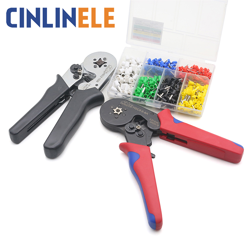 Tubular Terminal Crimper 6-6 0.25-6mm 23-10AWG & 10SA 0.25-10mm 23-7AWG Electrical Crimping Pliers Hand Tools Set HSC8 6-4(China)