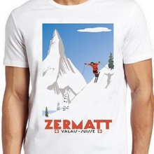 Camiseta Suiza Alps esquí Zermatt Valais Suiza Poster Vintage Cool Tee 58 camiseta gráfica