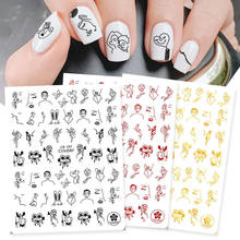 Nail Art Sticker Nail Sticker Love Rose Vine Abstract Black Gold Red 3D Adhesive Red White Girl Party Manicure Tools Accessories
