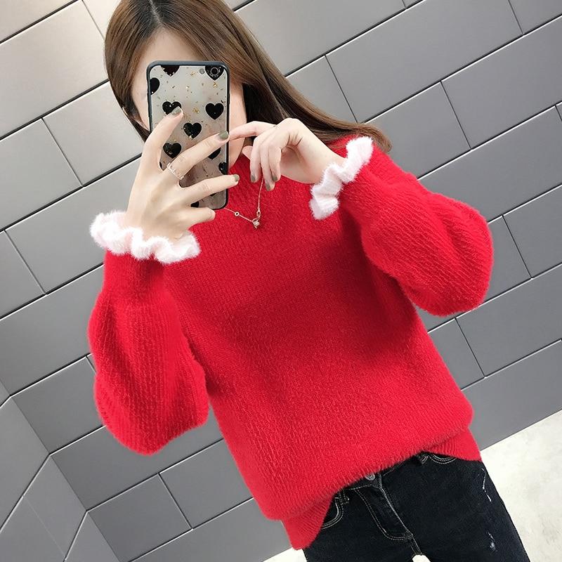 Velours pull dames hiver chaud cachemire laine Plus rouge fille coton tricoté femmes automne décontracté 2019 nouvelle mode doux pull