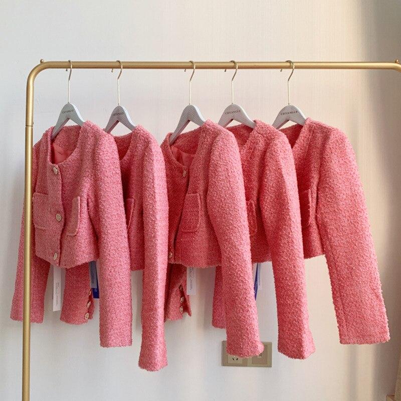 High Quality Autumn Outwear Korean Style Elegant Luxury Woolen Tweed Jacket Women Crop Top Brand Long Sleeve Vintage Short Coat