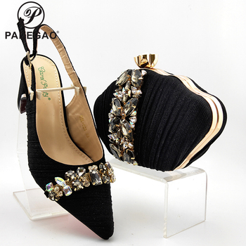 African Women Shoes and Bag Set in Black Color High Quality Peep Toe Shoes and Bag with Shinning Crystal for Garden Party