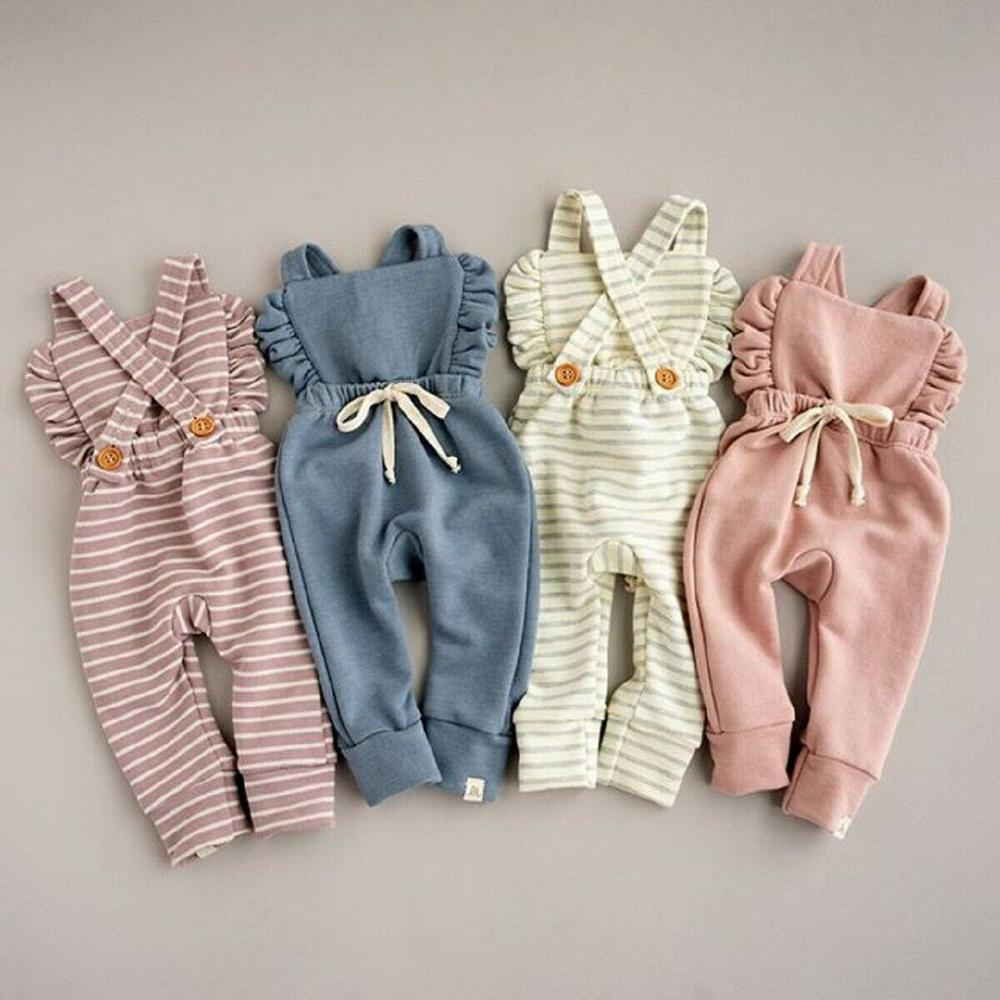 Newborn Baby Girl Boy Backless Striped Ruffle Romper Overalls Jumpsuit Clothes Onesies kid clothing toddler clothes Innrech Market.com