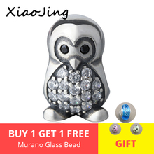 New 925 Sterling Silver cute penguin with CZ Charms Beads Fit Authentic pandora Bracelet diy Jewelry Making for women gifts цена