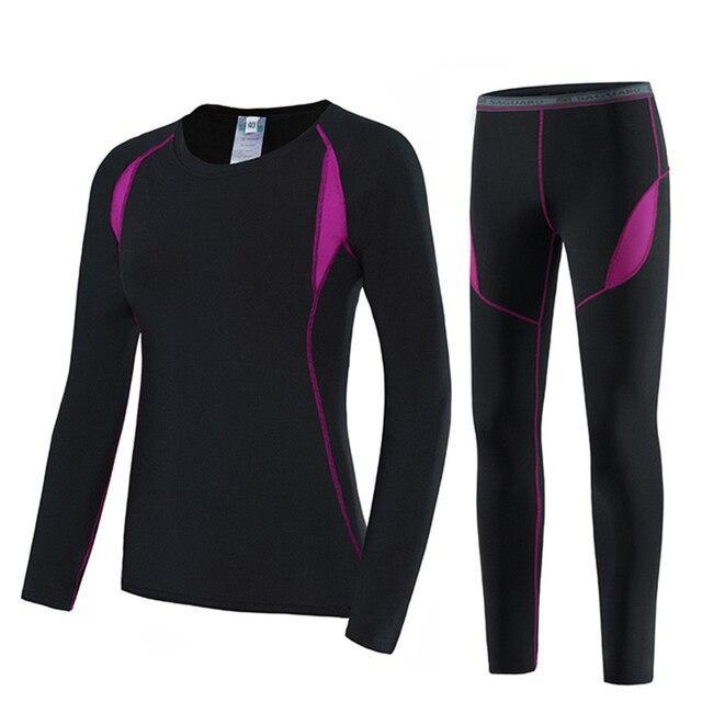 2 ชิ้นชุดผู้หญิงที่อบอุ่นฤดูหนาวความร้อน Plush กำมะหยี่ความร้อนเสื้อผ้าร้อนแห้งเทคโนโลยีการจับคู่ชุด Conjuntos De Mujer