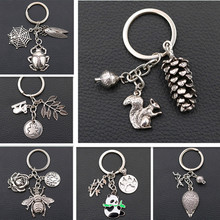 WKOUD/Creative Animal Metal Keychain Pet Charms Nature Wild Insect DIY Bag Hanging Jewelry Key Chain A1244