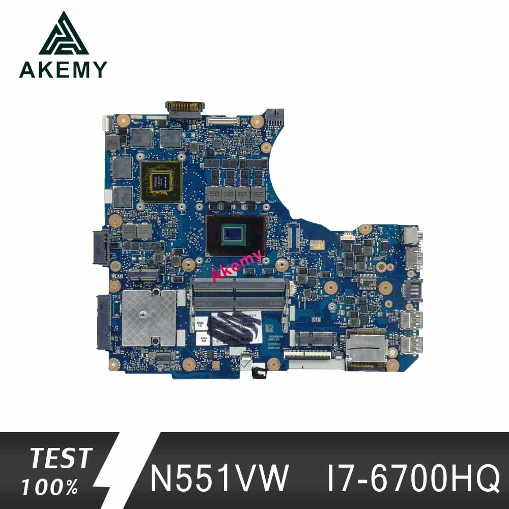 Akemy N551VW mainboard For <font><b>ASUS</b></font> G551VW FX51VW N551VW <font><b>N551V</b></font> G551V FX551V Laptop Motherboard I7-6700HQ CPU Test work 100% image