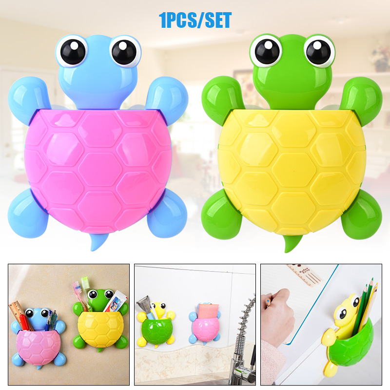 Hot 1pc Cartoon Turtle Toothbrush Holder Tortoise Shaped Toothpaste Holder with Suction Cup for Bathroom L99 in Toothbrush Toothpaste Holders from Home Garden