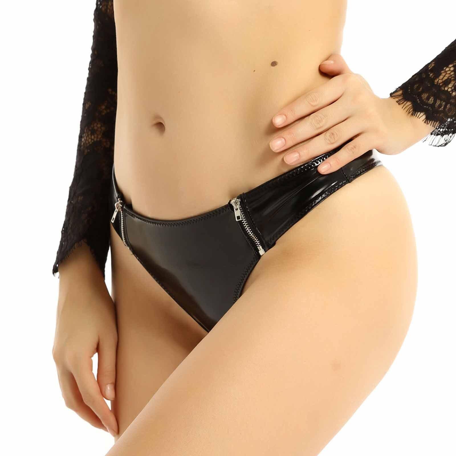 Бразильяно латекс нижнее белье трусы мини-бикини для женщин Эротические стринги, застежка-молния с низкой посадкой латексные трусы