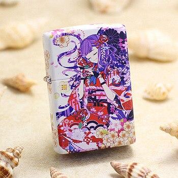 Genuine Zippo oil lighter copper Japanese Cartoon Sakura Festival cigarette Kerosene lighters Gift With anti-counterfeiting code