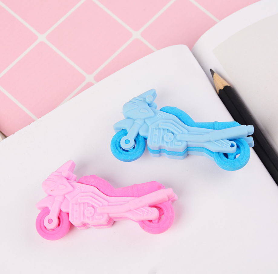 2pcs Motorcycle Cute Rubber Pencil Eraser Stationary School Supplies Items Kawaii Office Cartoon Kids Gift Students Prizes