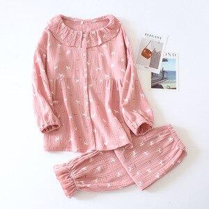 Image 3 - New Cotton Crepe Pyjamas Women Pajamas Sets Spring Long Sleeve Sleepwear O Neck Femme Lounge Pijama Mujer Household clothing