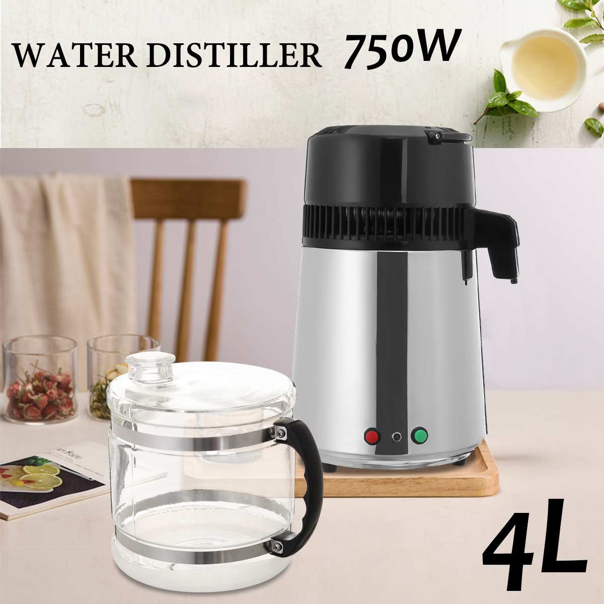 Stainless Steel Distilled Water Machine Portable Two-button Household Water Filter 4L With Over-temperature Insurance Function
