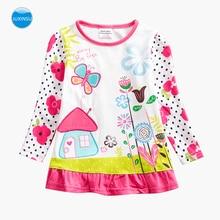 JUXINSU Girls Cotton Long Sleeve T-shirt Flower  Butterfly Cabin Embroidery Autumn Winter Girl Casual t shirt 1-5 Years