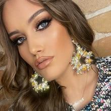 JIJIAWENHUA New Trend Women's Multicolor Rhinestone Star Pendant Earrings Dinner Party Declaration Fashion Jewelry Earrings